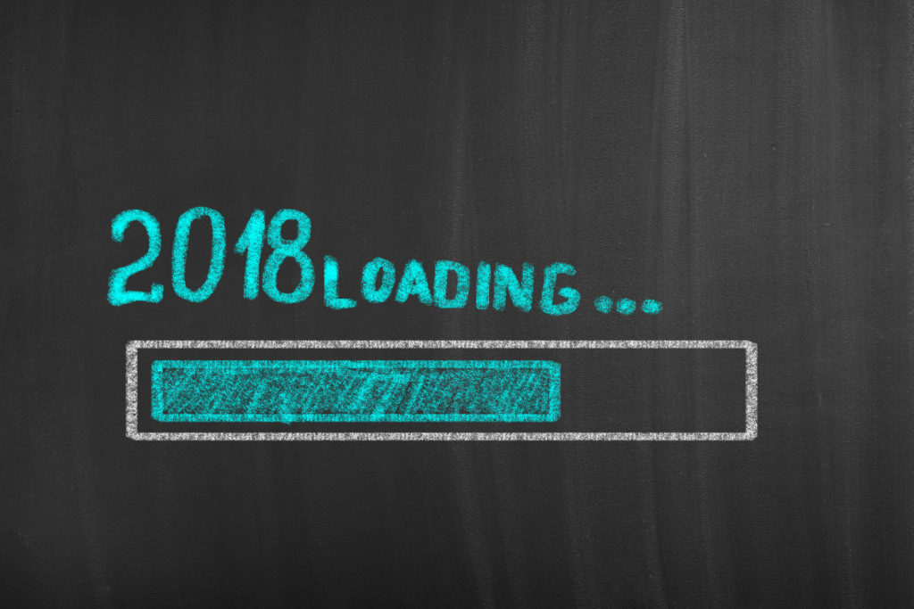 New year 2018 loading blackboard drawing background